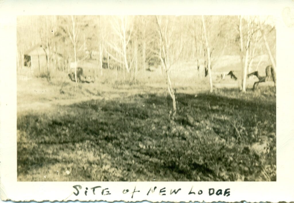 site of new lodge written on old photo of trees