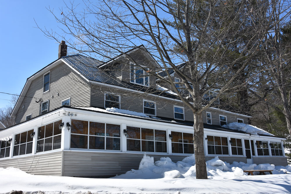 lodge exterior in winter